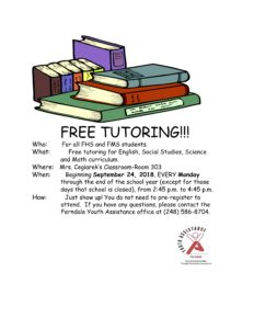 Free Tutoring for FHS and FMS students @ Mrs. Ceglarek's Classroom - Room 303, Ferndale MS