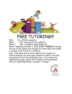 Free Tutoring for FUEL Students @ Mrs. Trolinger's Room - Room 12 (Ferndale Upper Elem.)