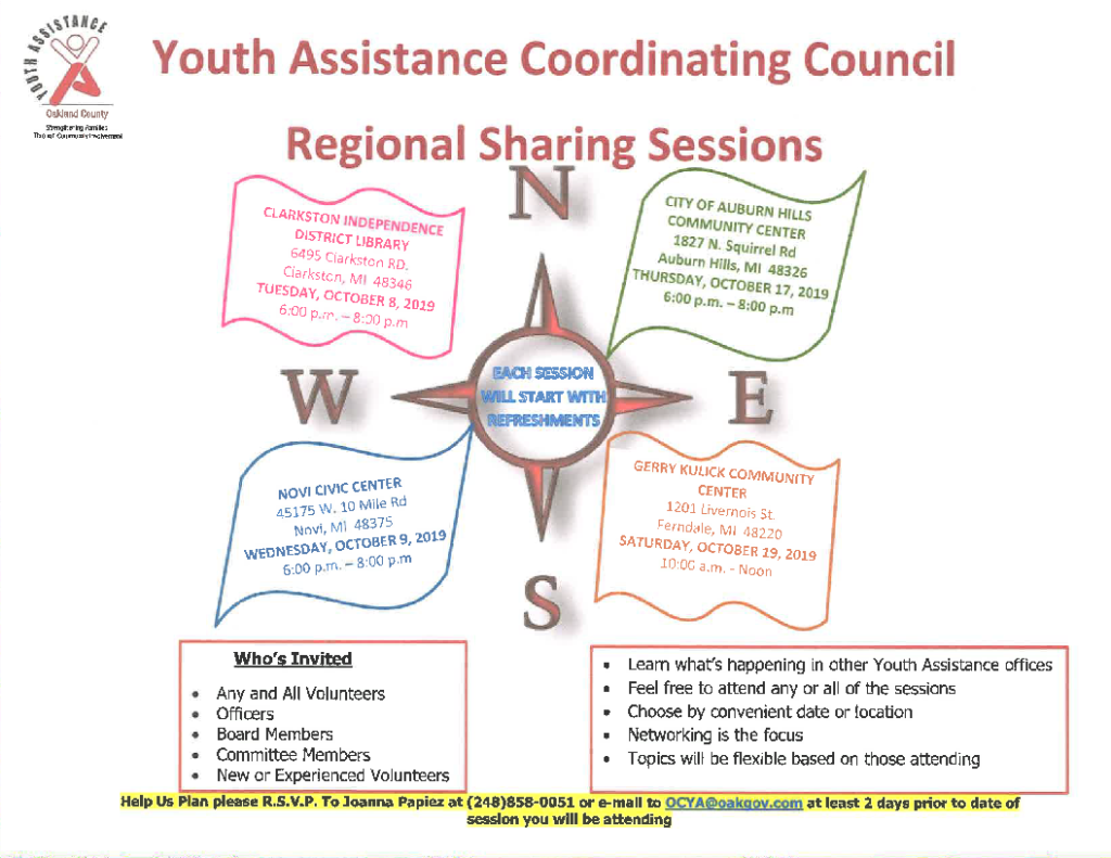 Youth Assistance Coordinating Council Regional Sharing Session @ City of Auburn Hills Community Center